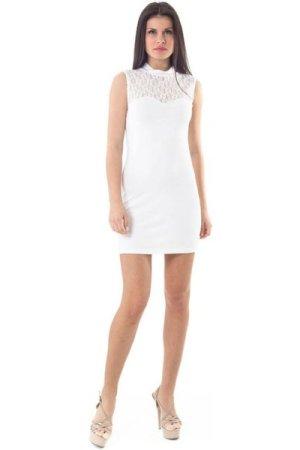 Conquista Lace Detail Stretch Mini Dress in White