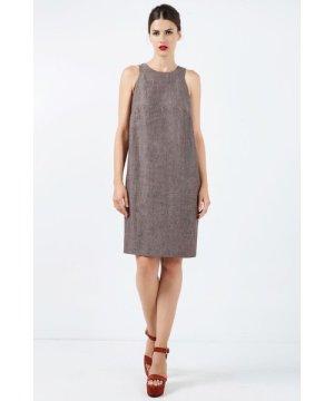 Conquista Sleeveless Brown Linen Sack Dress