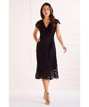 Mela London Black Ruffle Overlay Lace Midi Dress