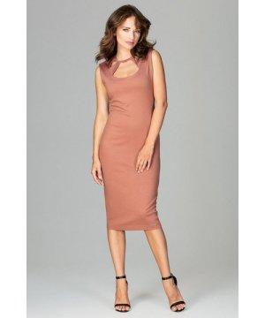 Lenitif Brown Bodycon Dress With Decorative Neckline