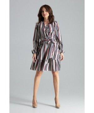 Lenitif Midi Strip Print Dress With Long Sleeves