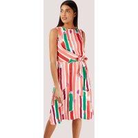 Paint Stripe Asymmetrical Tie Front Dress