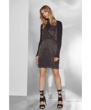 Enid Shimmer V Neck Sequin Dress - black/gunmetal