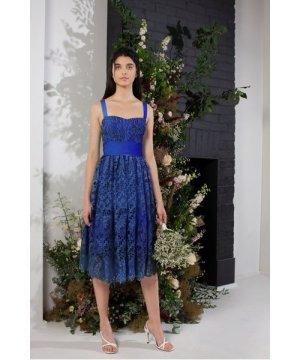 Elsa Lace Midi Bridesmaid Dress - clement blue