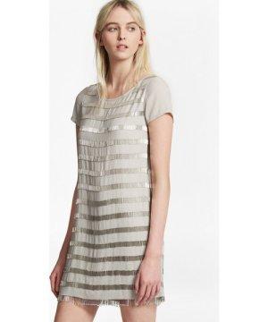 Della Fringe Embellished Tunic Dress - freeway grey