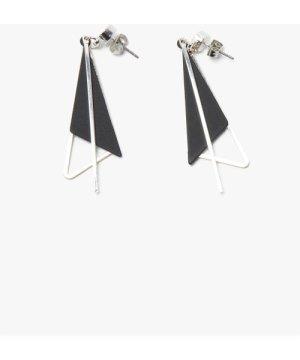 Triangle Earrings - silver/black