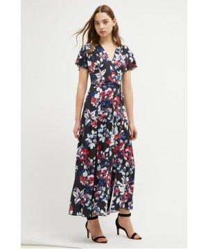 Linosa Slinky Floral Maxi Dress - utility blue multi