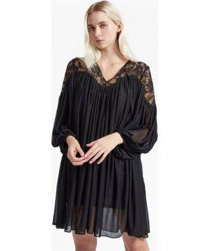 Lassia Lace Jersey Tie Neck Dress - black
