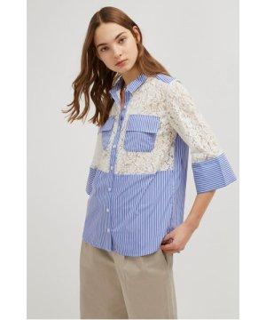 Adena Lace Mix Shirt - riviera blue/linen white