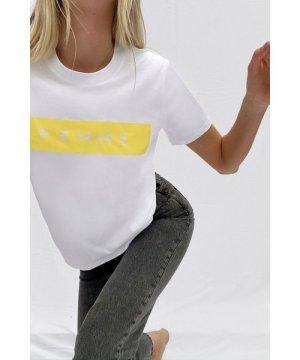Femme Boyfit Graphic T-Shirt - white/yellow