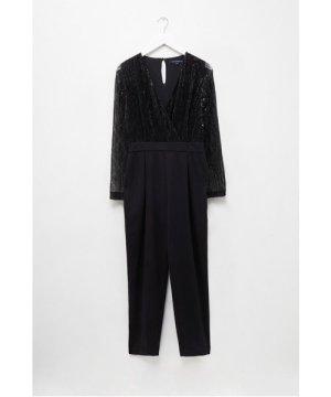 Rubina Jersey V-neck Embellished Jumpsuit - black