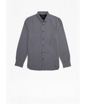 Melange Flannel Shirt - mid grey melange