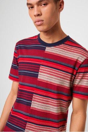 Kamo Splice Stripe T-shirt - salsa red/utility blue