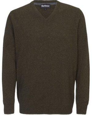 Barbour Mens Essential Lambswool V Neck Sweater Seaweed Medium