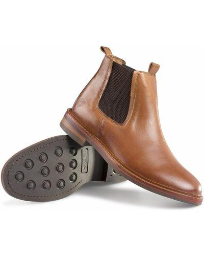 Alan Paine Mens Leather Chelsea Ankle Boots Tan 9 (EU43)