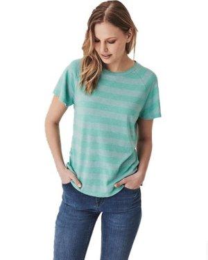 Crew Clothing Womens Simple Slub Tee Pool Blue / Winter Green 10