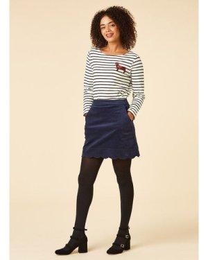 Villanelle Navy Velveteen Scallop Mini Skirt - Vintage Style