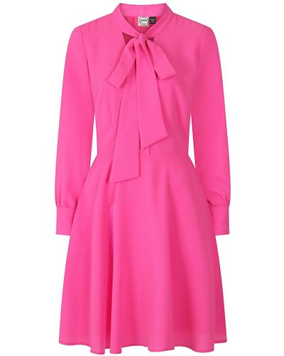 Anne Pussy Bow Dress - Pink - Vintage Style
