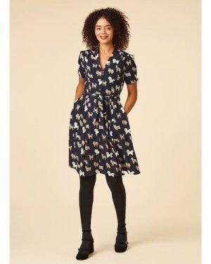 Barb Dog Print Tea Dress - Navy - Vintage Style