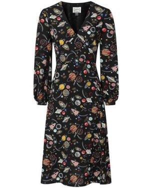 Lucid Space Print Midi Dress - Vintage Style