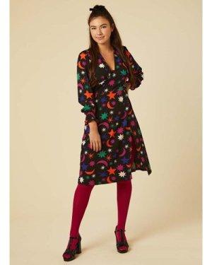 Mars Colourful Star & Moon Print Midi Dress - Vintage Style