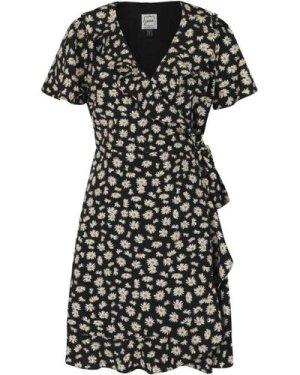 Joyce Daisy Print Frill Wrap Dress - Vintage Style