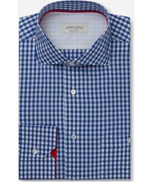 Shirt  gingham  blue 100% pure cotton zephyr, collar style  spread collar