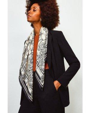 Karen Millen Silk Placement Print Scarf -, Black