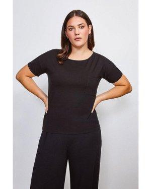 Karen Millen Curve Lounge Viscose Jersey T Shirt -, Black