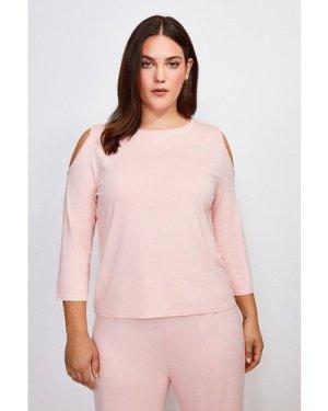 Karen Millen Curve Lounge Cold Shoulder Viscose Jersey Top -, Pink