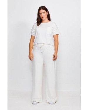 Karen Millen Curve Lounge Jersey Viscose Wide Leg Trousers -, Ivory