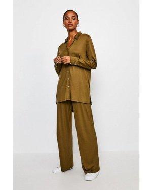 Karen Millen Lyocell Super Soft Lounge Wide Leg Trousers -, Khaki/Green