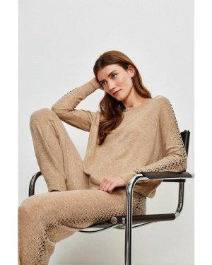 Karen Millen Embellished Soft Touch Knitted Slouchy Jumper -, Oatmeal