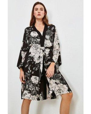 Karen Millen Floral Nightwear Wrap -, Black