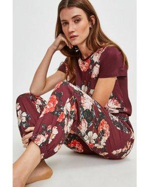 Karen Millen Rose Print Cuffed Nightwear Pant -, Red