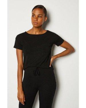 Karen Millen Viscose Jersey Short Sleeve Lounge T-Shirt -, Black