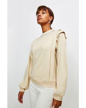 Karen Millen Lounge Diamante Jersey Sweatshirt -, Natural
