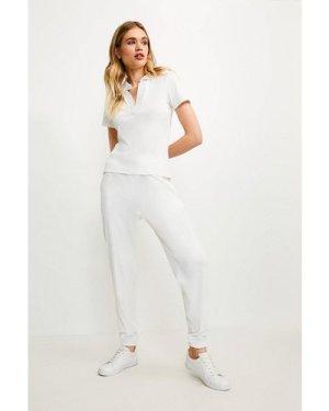 Karen Millen Lounge Rib Collared Short Sleeve Jersey Top -, Cream