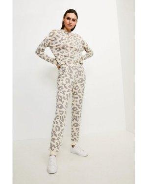 Karen Millen Lounge Print Slim Leg Jersey Trousers -, Animal