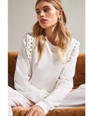 Karen Millen Lounge Eyelet Shoulder Jersey Sweatshirt -, Cream