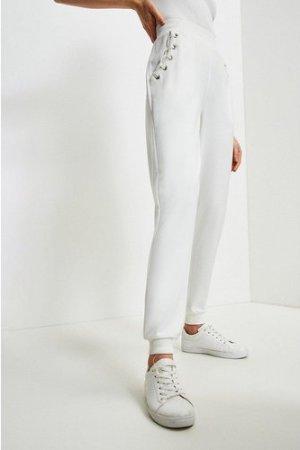 Karen Millen Lounge Eyelet Pocket Sweat Jersey Pant -, Cream