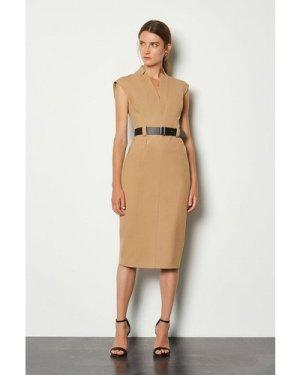 Karen Millen Forever Cap Sleeve Dress -, Camel