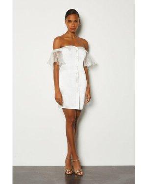 Karen Millen Bardot Button Front Organza Sleeve Mini Dress -, Ivory