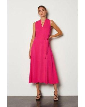 Karen Millen Notch Neck Soft Tie Midi Dress -, Navy