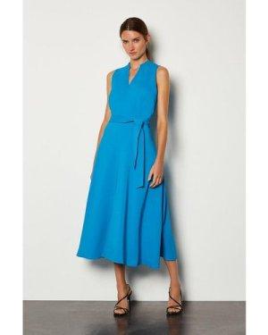 Karen Millen Notch Neck Soft Tie Midi Dress -, Blue