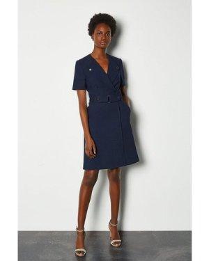 Karen Millen Cinch Waist Short Sleeve Belted Dress -, Navy