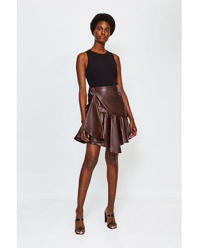 Karen Millen Leather Flippy Mini Skirt -, Aubergine