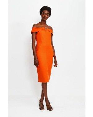 Karen Millen Forever Bardot Pencil Dress -, Orange