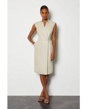 Karen Millen Leather Wrap Dress -, Cream