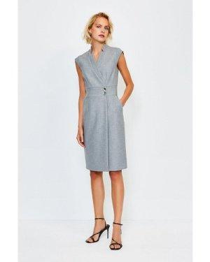 Karen Millen Collar Wrap Popper Dress -, Grey